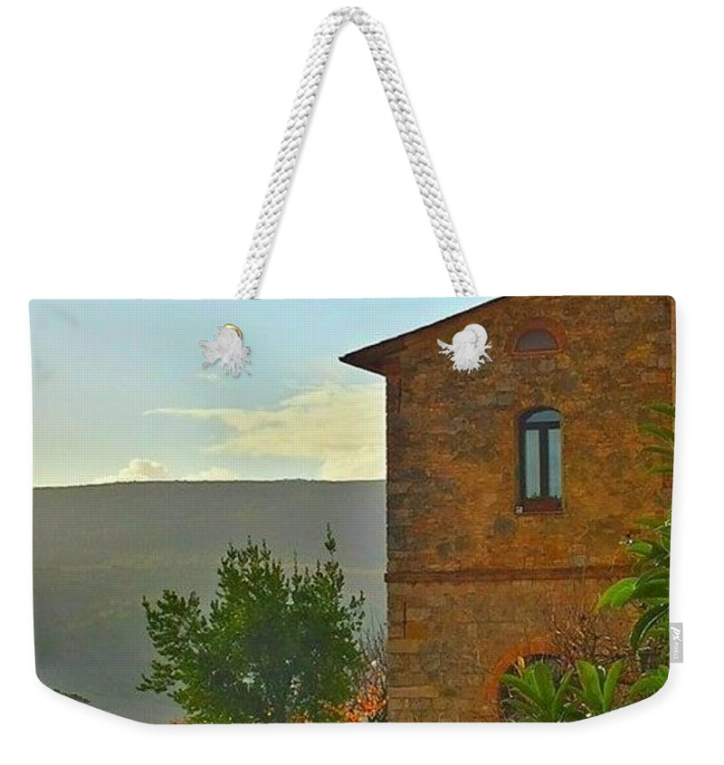 Pale Blue Sky Weekender Tote Bag featuring the photograph Afternoon Light by Harriet Harding