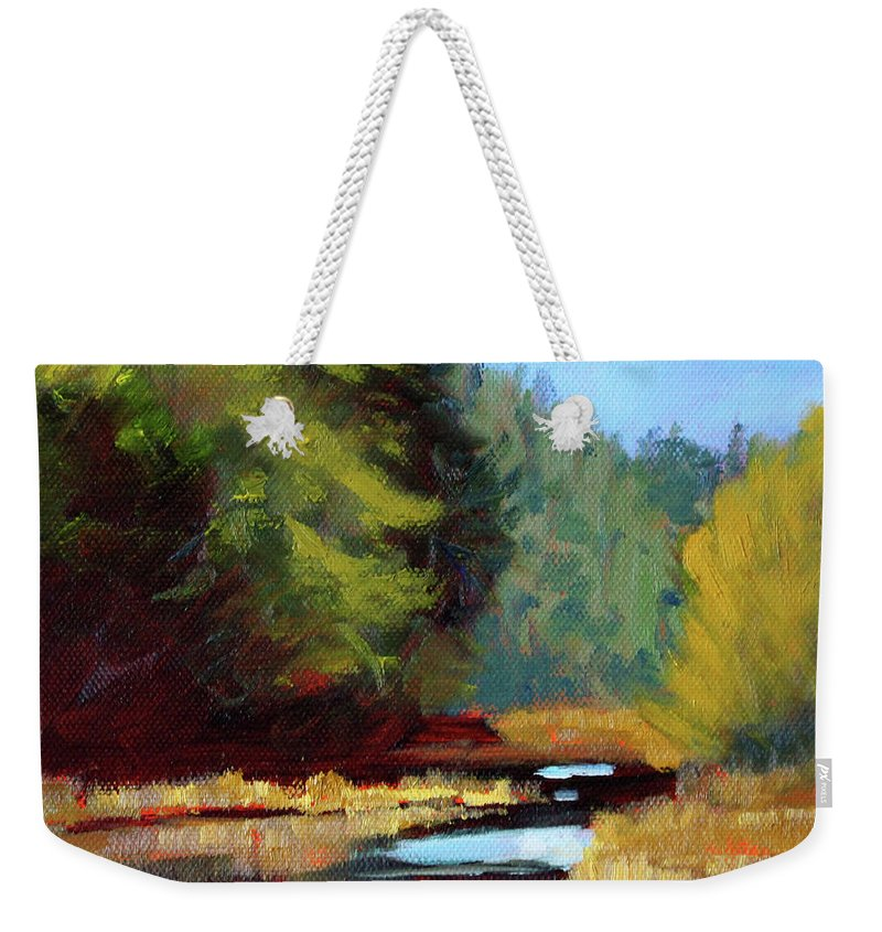 Bend Oregon Weekender Tote Bag featuring the painting Afternoon On The River by Nancy Merkle