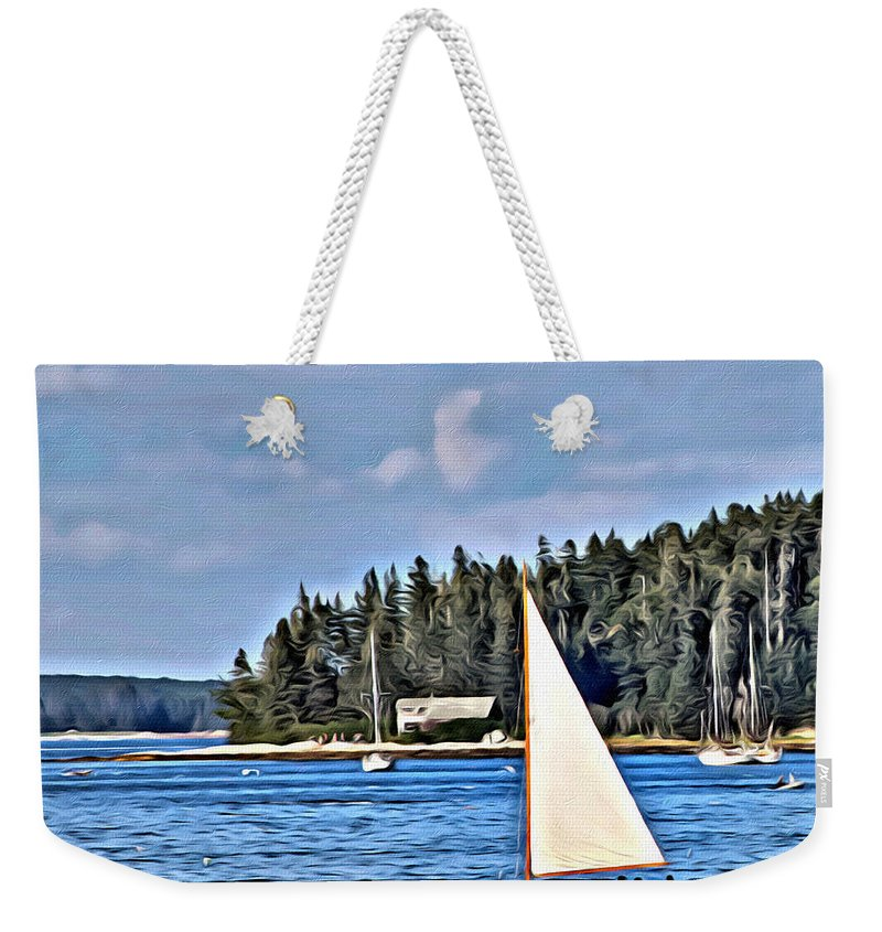 Rocky Shore Weekender Tote Bag featuring the photograph Afternoon Sail by Modern Art