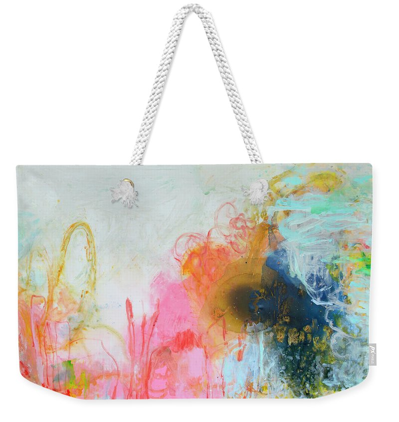 Abstract Weekender Tote Bag featuring the painting Afternoon Snooze by Claire Desjardins