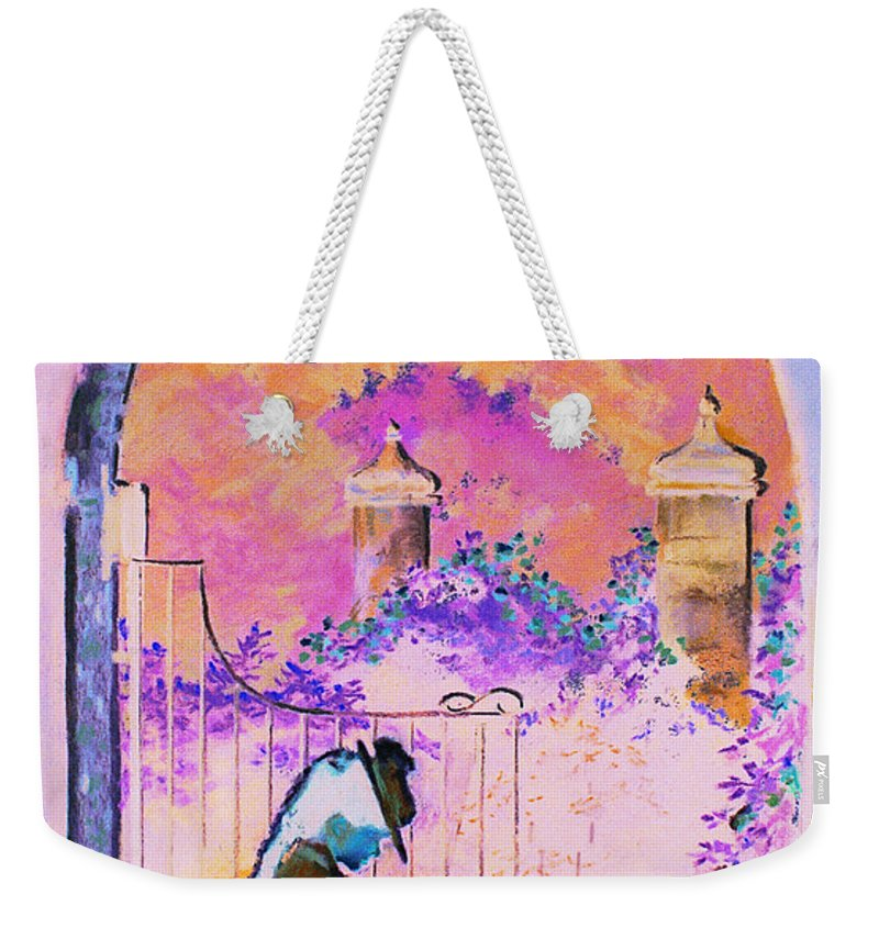 Rose Weekender Tote Bag featuring the painting Afternoon Stroll by Jean Hildebrant