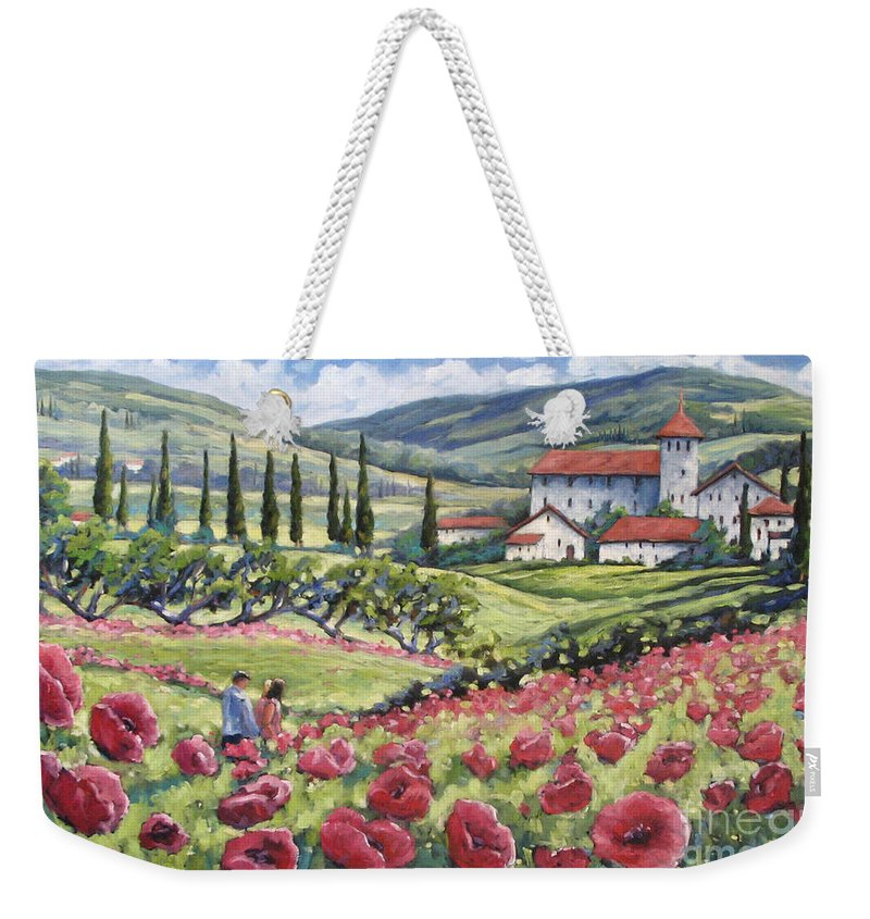 Tuscan Weekender Tote Bag featuring the painting Afternoon Stroll by Richard T Pranke