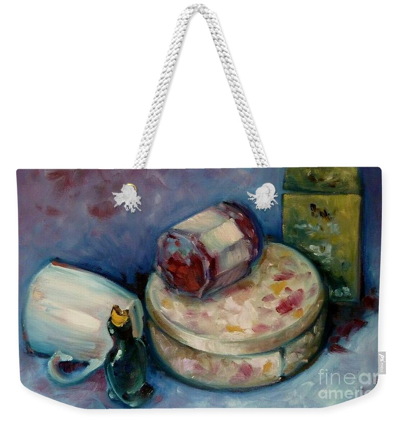 Tea Weekender Tote Bag featuring the painting Afternoon Tea by K M Pawelec
