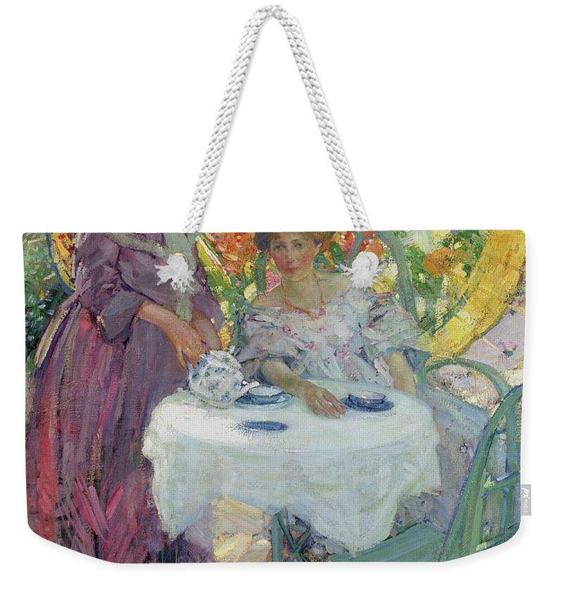 Female Weekender Tote Bag featuring the painting Afternoon Tea by Richard Edward Miller