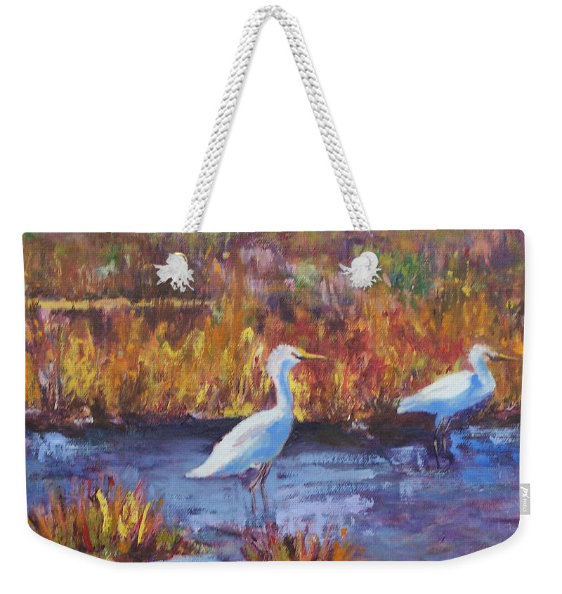 Maine Weekender Tote Bag featuring the painting Afternoon Waders by Alicia Drakiotes