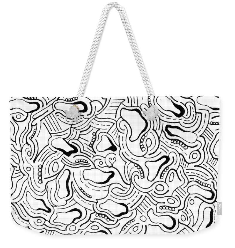 Mazes Weekender Tote Bag featuring the drawing Against The Grain by Steven Natanson