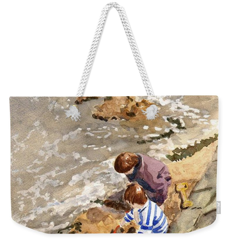 Water. Sea. Tide. Boys. Children. Coast. Beach. Coastal. Sand. Sea. Play. Weekender Tote Bag featuring the painting Against The Tide by John Cox