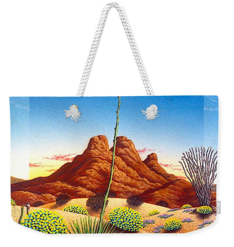 Agave Cactus Weekender Tote Bag featuring the painting Agave Bloom by Snake Jagger