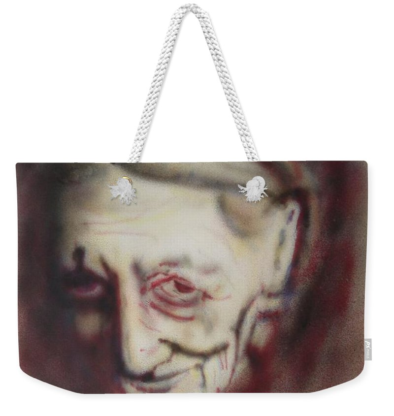 Portrait Weekender Tote Bag featuring the painting Aged Smile by Ron Bissett