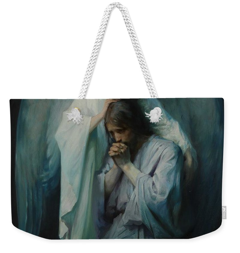 Man Weekender Tote Bag featuring the painting Agony In The Garden By Frans Schwartz, 1898 3 by Frans Schwartz