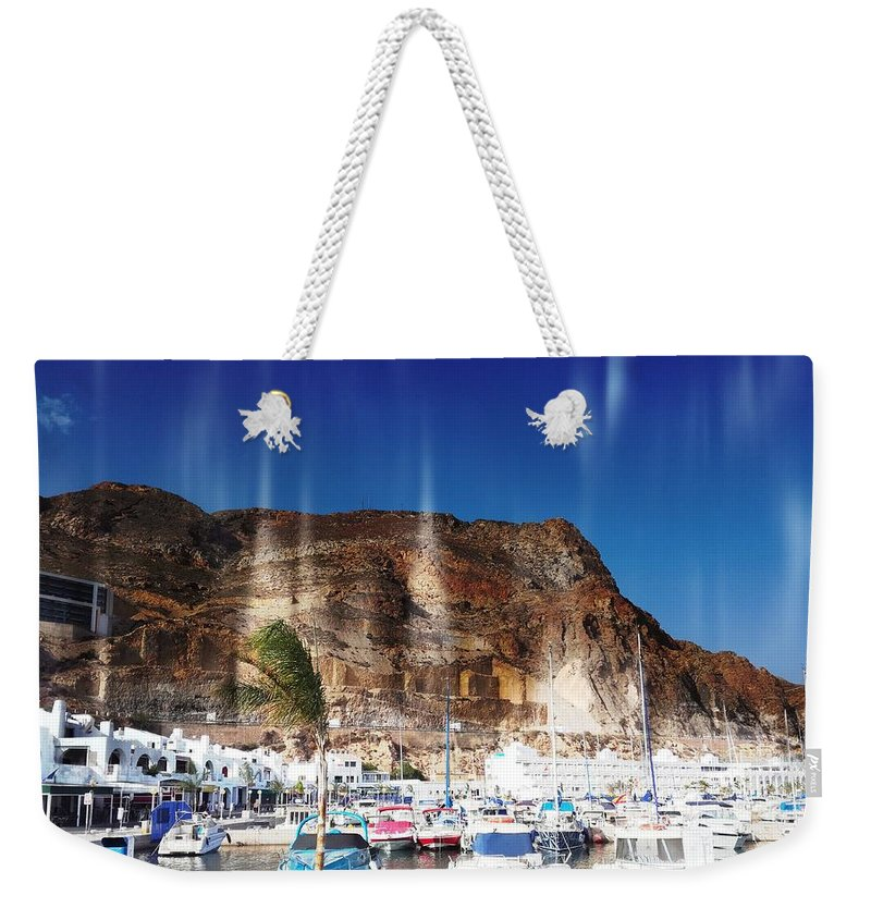Port Weekender Tote Bag featuring the digital art Aguadulce Port by Alicia Guerrero