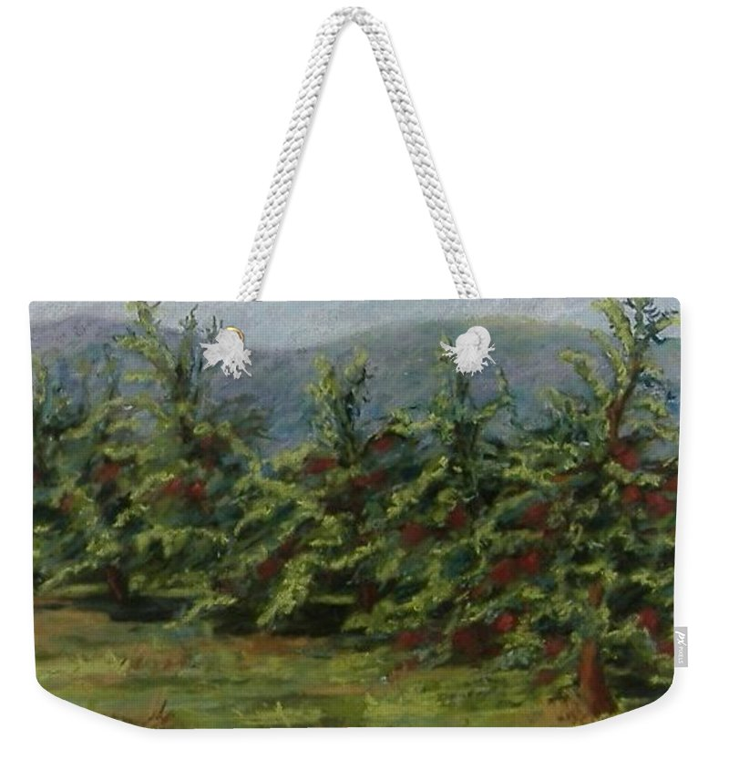 Apple Trees Weekender Tote Bag featuring the pastel Ah The Apple Trees by Pat Snook