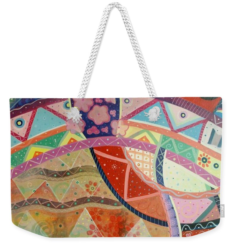 Hand Weekender Tote Bag featuring the painting Aim High by Helena Tiainen
