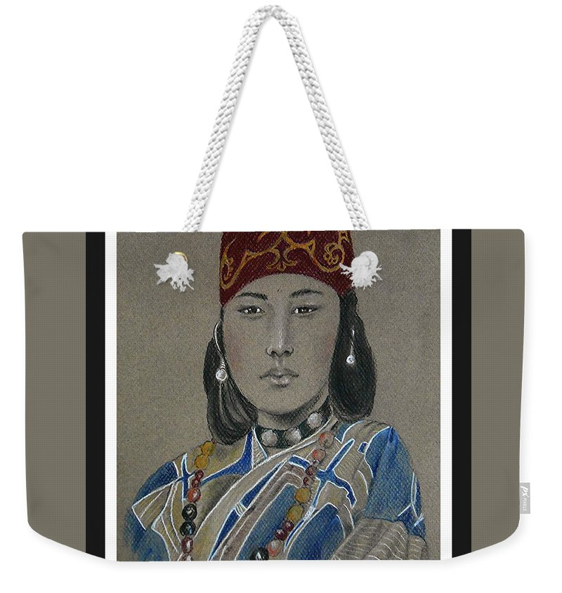 Ainu Weekender Tote Bag featuring the drawing Ainu Woman -- Portrait Of Ethnic Asian Woman by Jayne Somogy