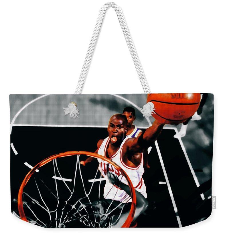 852f277e2e70 Michael Jordan Weekender Tote Bag featuring the digital art Air Jordan  Above The Rim by Brian