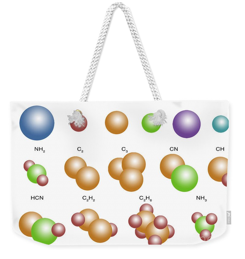 Methylidyne Weekender Tote Bag featuring the photograph Air Molecules by Spencer Sutton