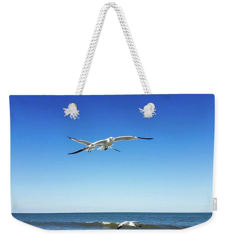 Weekender Tote Bag featuring the photograph Air Play by Belinda Jane
