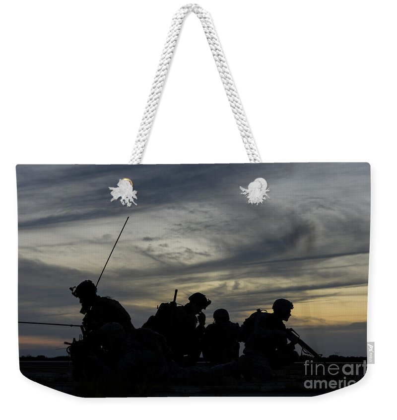 Exercise Emerald Warrior Weekender Tote Bag featuring the photograph Air Traffic Controllers Set by Stocktrek Images