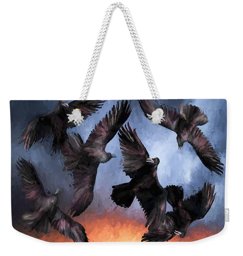 Fine Art Weekender Tote Bag featuring the painting Airborne Unkindness by David Wagner