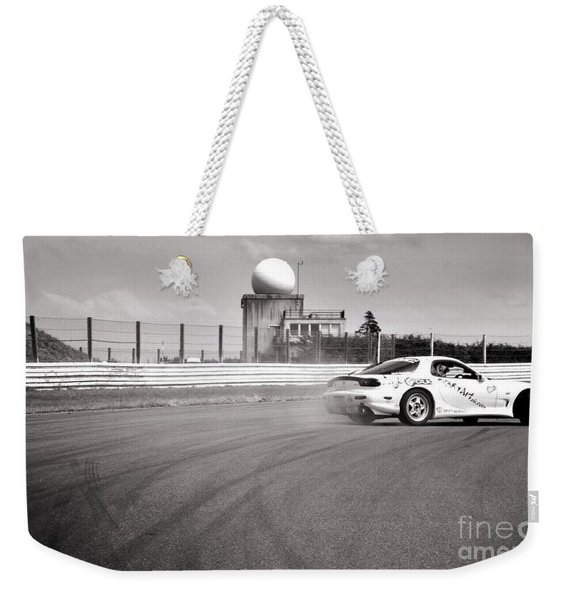 Car Weekender Tote Bag featuring the photograph Airfield Drifting by Andy Smy