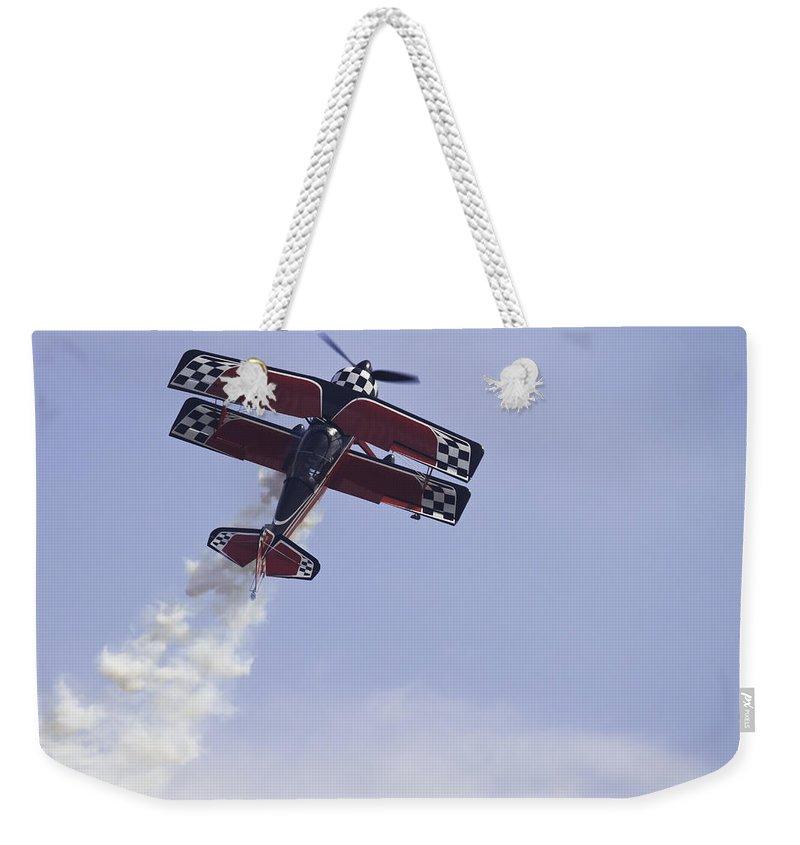 Airplane Weekender Tote Bag featuring the photograph Airplane Performing Stunts At Airshow Photo Poster Print by Keith Webber Jr