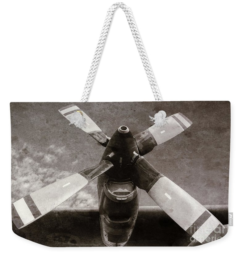 Aircraft Weekender Tote Bag featuring the photograph Dakota Airplane Propeller by Les Palenik