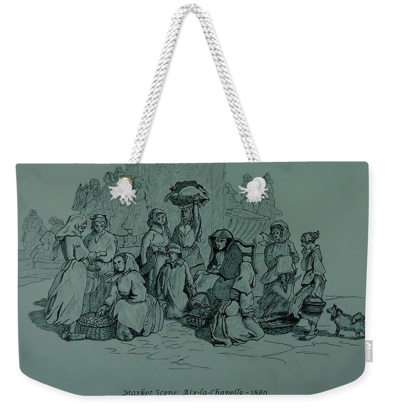 Graphite Weekender Tote Bag featuring the drawing Aix-en-chapelle by William Goldsmith