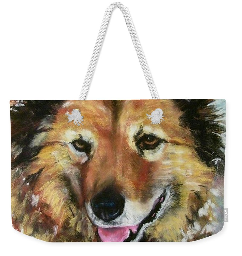 Dog Weekender Tote Bag featuring the painting Akia by Frances Marino
