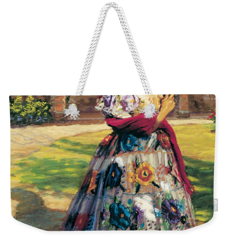 Woman Elaborately Embroidered Mexican Dress. Background Mission San Juan Capistrano. Weekender Tote Bag featuring the painting Al Aire Libre by Jean Hildebrant