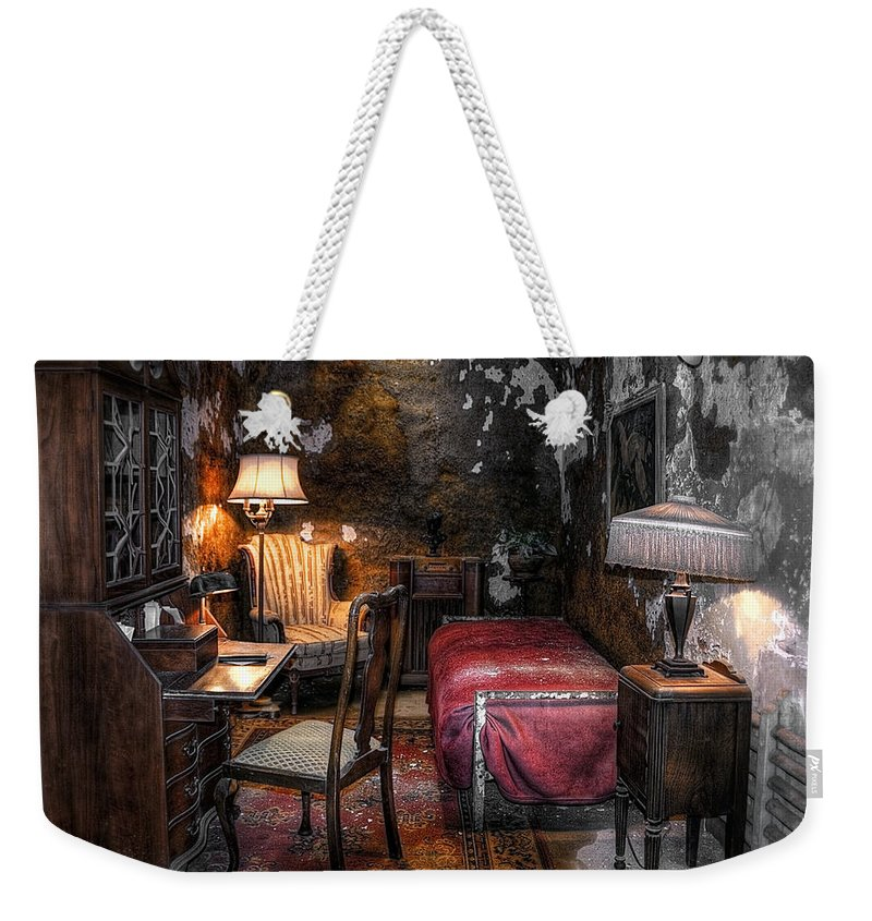 America Weekender Tote Bag featuring the photograph Al Capone Cell by Svetlana Sewell