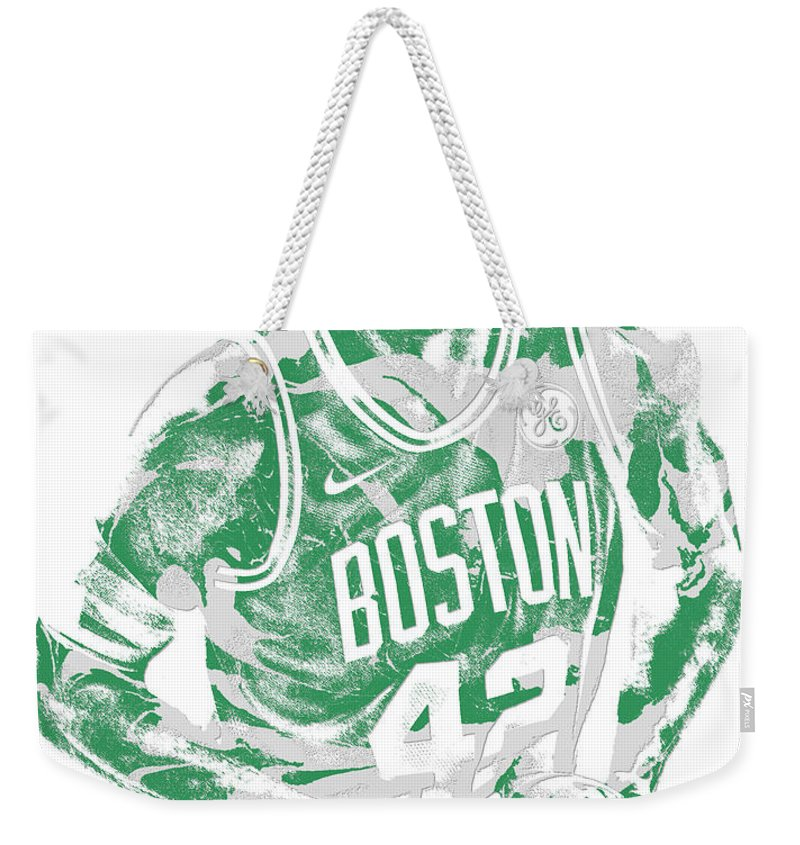 Al Horford Weekender Tote Bag featuring the mixed media Al Horford Boston Celtics Pixel Art 6 by Joe Hamilton