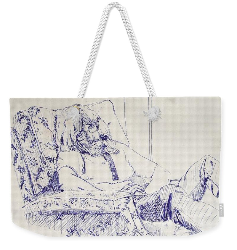 Portrait Weekender Tote Bag featuring the drawing Al-studying by Ron Bissett