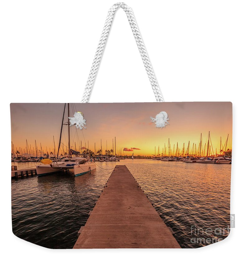 Ala Wai Harbor Weekender Tote Bag featuring the photograph Ala Wai Harbor Sunset by Benny Marty