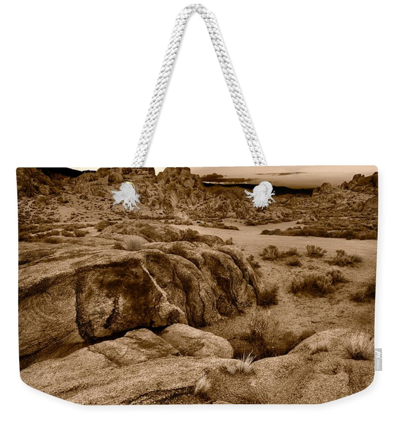 Alabama Weekender Tote Bag featuring the photograph Alabama Hills California B W by Steve Gadomski