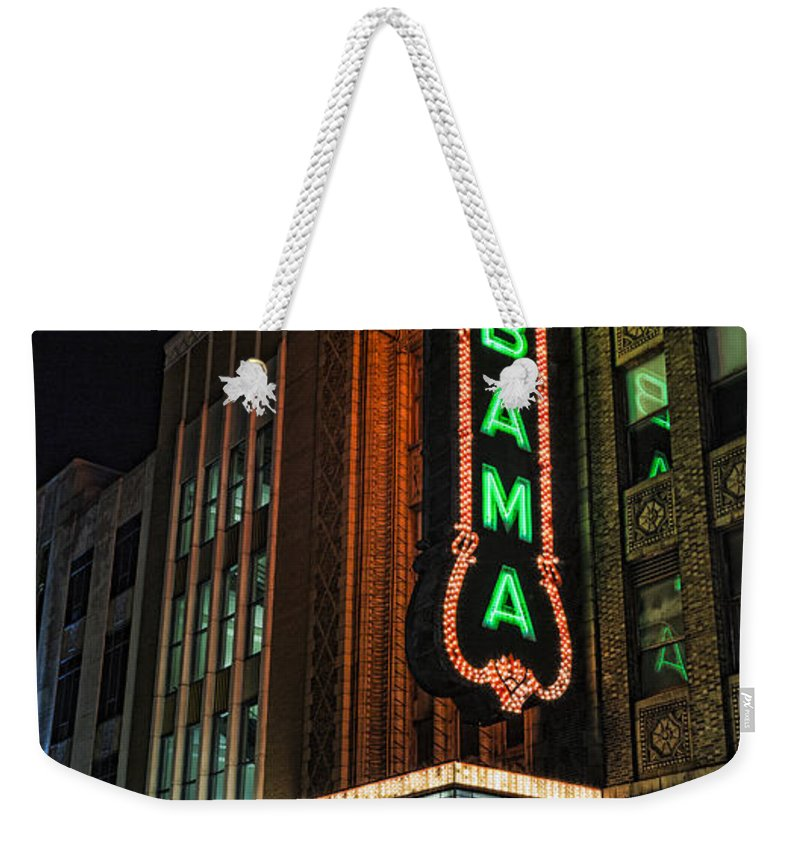 Alabama Weekender Tote Bag featuring the photograph Alabama Theater by Stephen Stookey