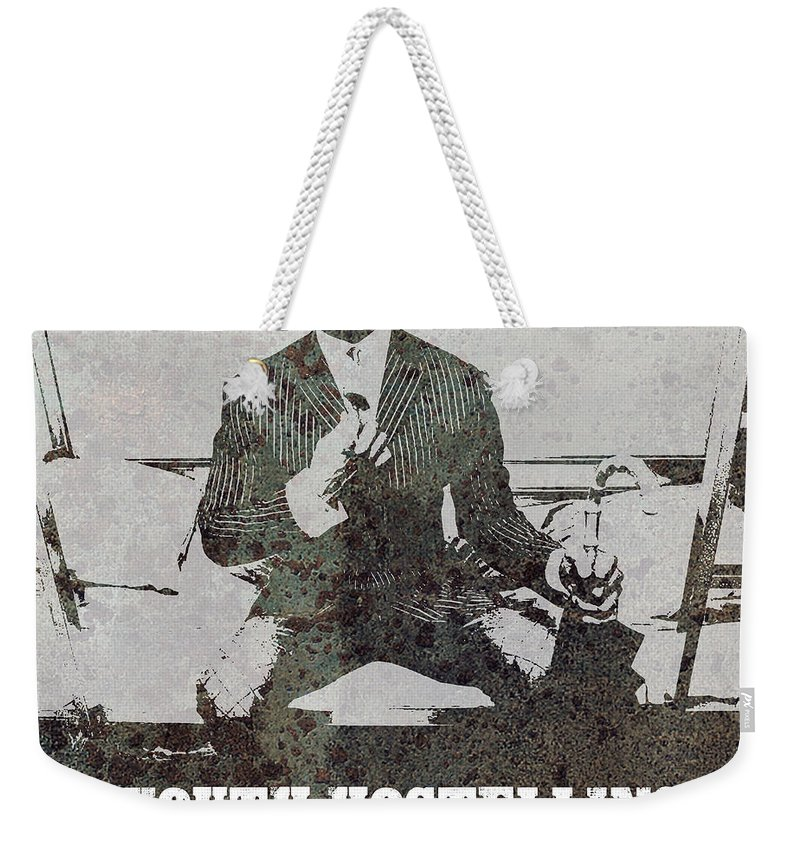 Alan Partridge Weekender Tote Bag featuring the digital art Alan Youth Hostelling Chris Eubank by Andy Hunt