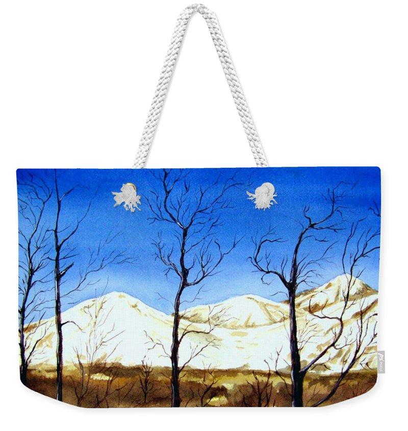 Landscape Weekender Tote Bag featuring the painting Alaska Blue Sky Day by Brenda Owen