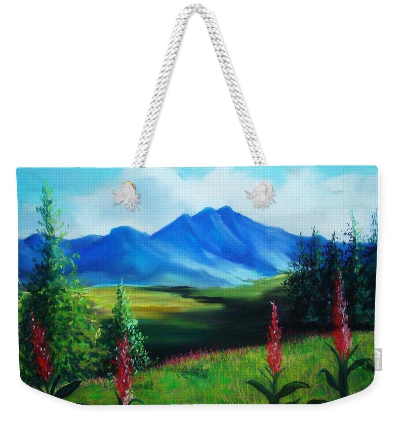 Alaska Weekender Tote Bag featuring the pastel Alaska by Melinda Etzold