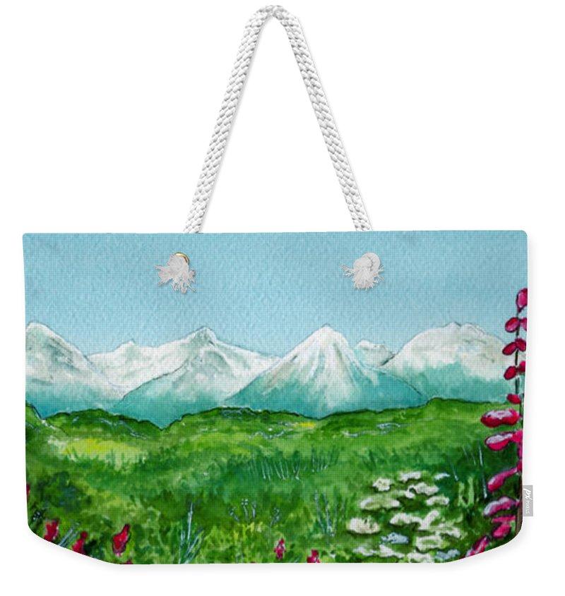 Landscape Weekender Tote Bag featuring the painting Alaska Splendor by Brenda Owen