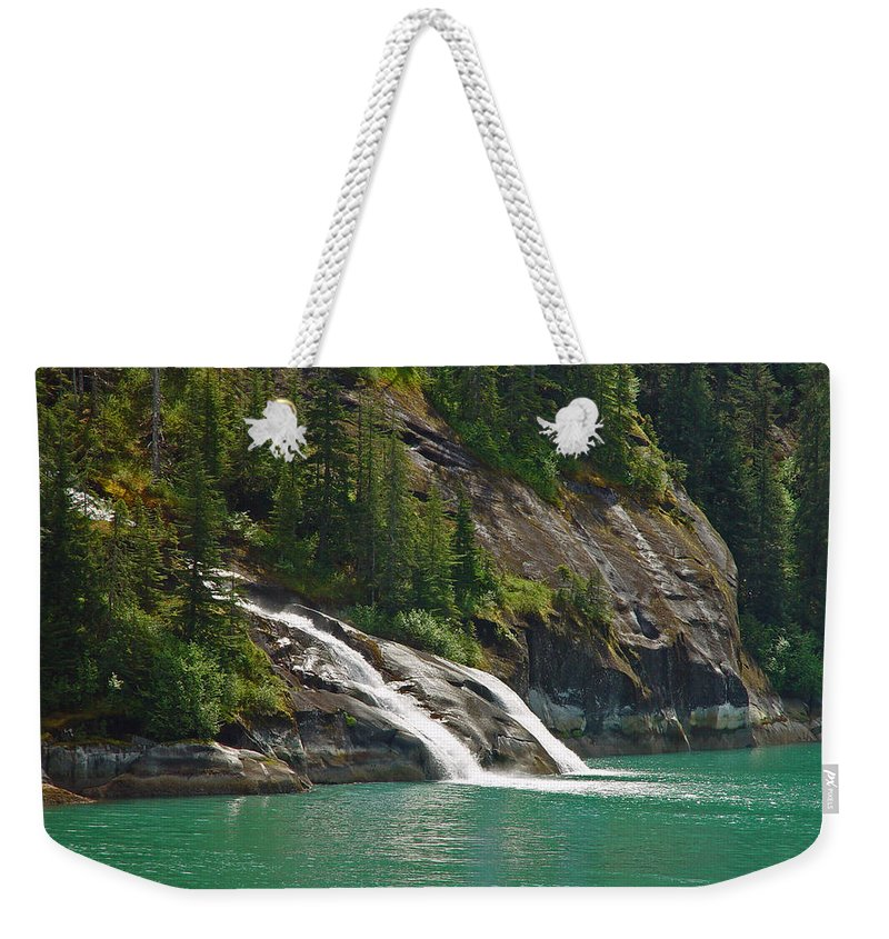 Waterfall Weekender Tote Bag featuring the photograph Alaska Tracy Arm by Heather Coen