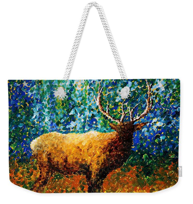Abstract Weekender Tote Bag featuring the painting Alaskan Elk Original Madart Painting by Megan Duncanson
