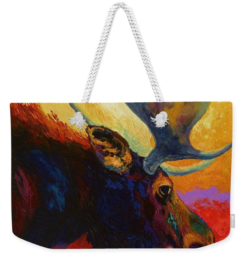 Moose Weekender Tote Bag featuring the painting Alaskan Spirit - Moose by Marion Rose