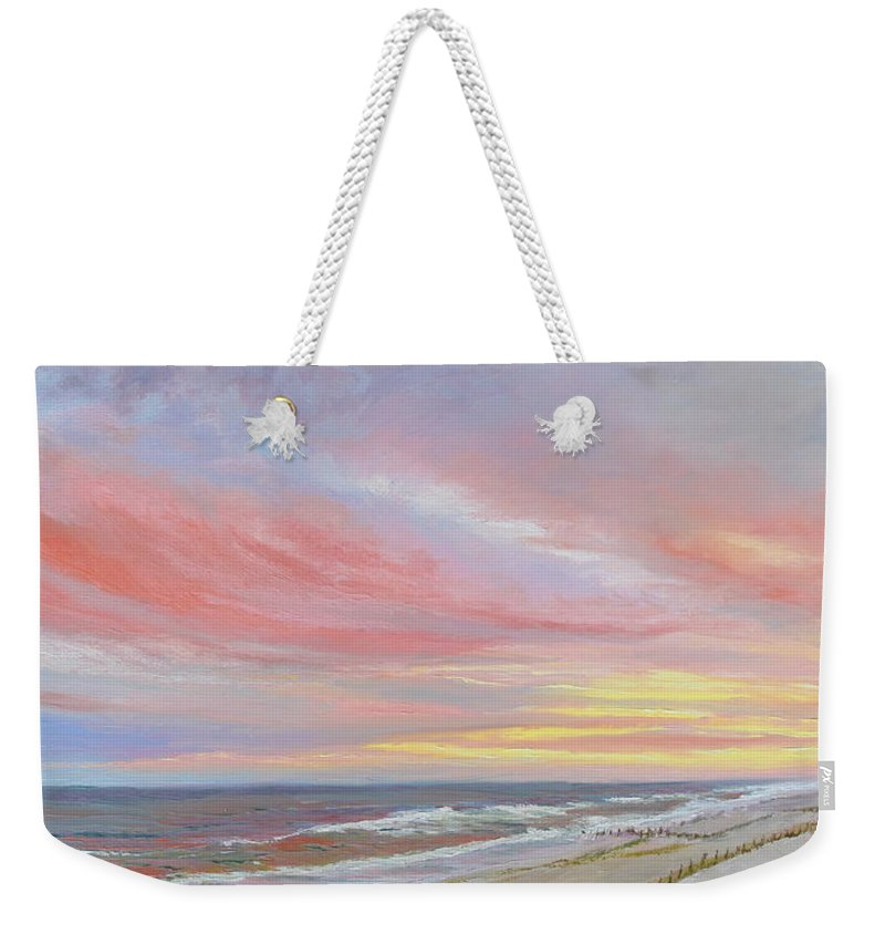 Seascape Weekender Tote Bag featuring the painting Alberta's Sunset by Lea Novak
