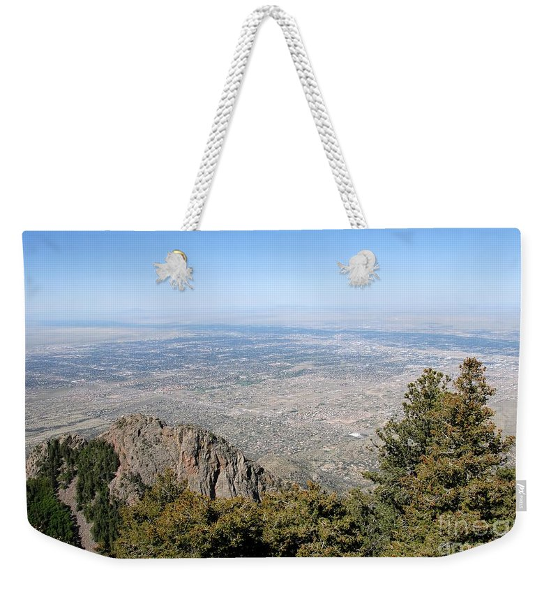 Albuquerque Weekender Tote Bag featuring the photograph Albuquerque And The Rio Grande by David Lee Thompson