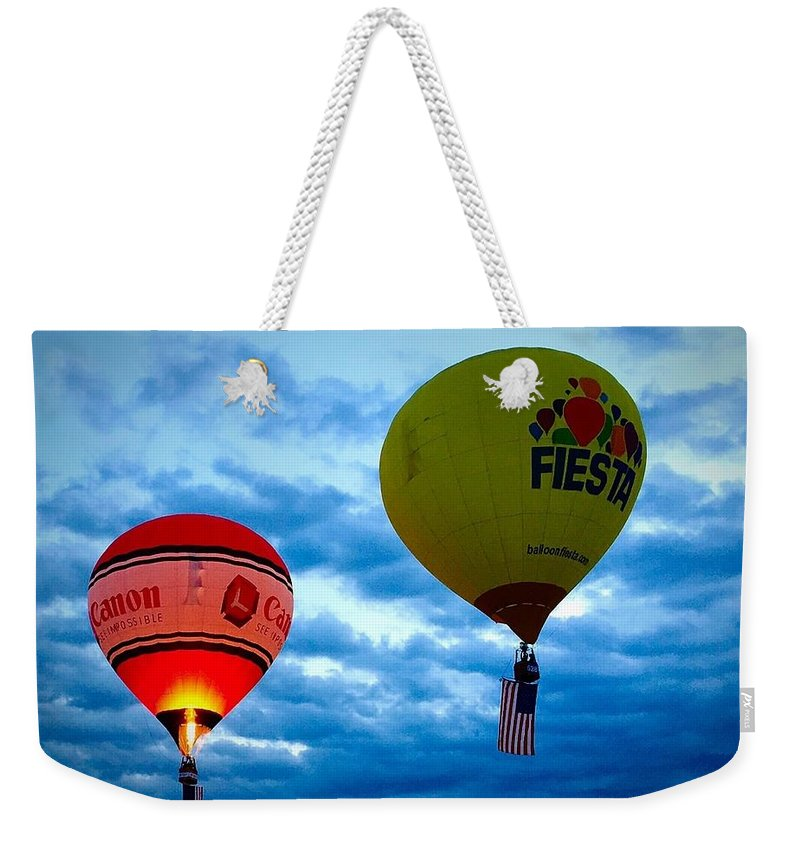 Albuquerque Weekender Tote Bag featuring the photograph Albuquerque Balloon Festival by Anne Sands