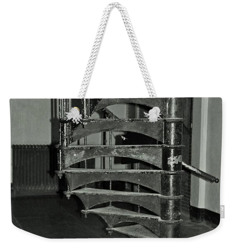 Alcatraz Weekender Tote Bag featuring the photograph Alcatraz Stairs In Bw by Michiale Schneider