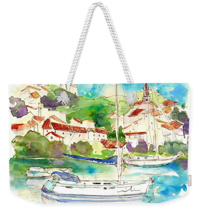 Travel Weekender Tote Bag featuring the painting Alcoutim In Portugal 01 by Miki De Goodaboom