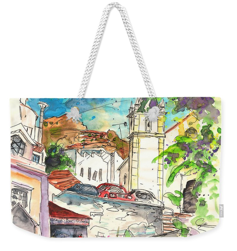 Travel Weekender Tote Bag featuring the painting Alcoutim In Portugal 02 by Miki De Goodaboom