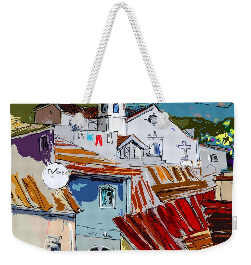 Travel Weekender Tote Bag featuring the painting Alcoutim In Portugal 08 Bis by Miki De Goodaboom
