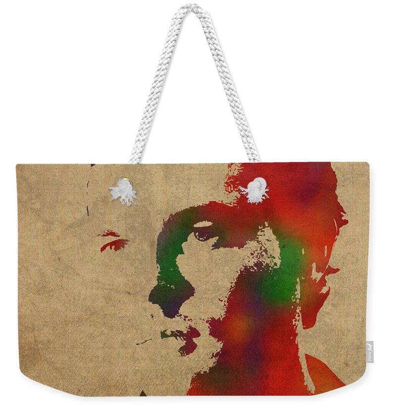 Alden Ehrenreich Weekender Tote Bag featuring the mixed media Alden Ehrenreich Watercolor Portrait by Design Turnpike